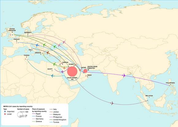 Мапа розповсюдження вірусу MERS-CoV у Східній півкулі станом на 2014-й рік. Джерело ілюстрації: http://www.flutrackers.com