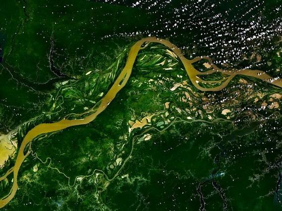 Супутникова світлина частини головного русла Амазонки