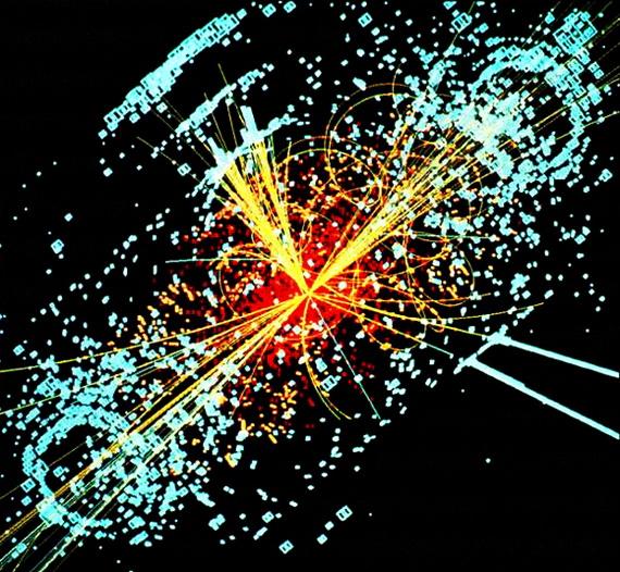Розпад бозона Гіґґса при зіткненні двох протонів. Джерело: http://www.uk.wikipedia.оrg