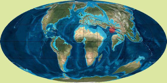 Мапа Землі Палеогену - Еоцену (65-40 млн. років тому). Червоним позначено область виникнення сухопутних предків китів. Джерело: Андрій М. Заморока