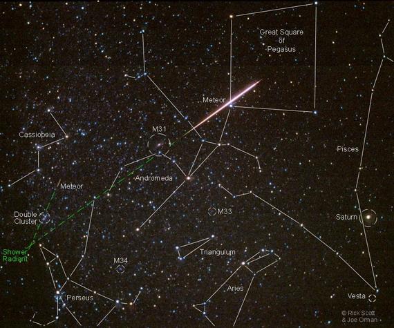 Розміщення сузір'їв та радіанту Персеїд на зоряному небі