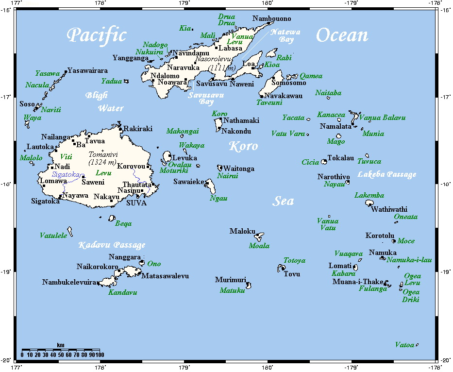 Мапа островів Фіджі (для збільшення клацніть по малюнку). Джерело: http://www.wikimedia.org
