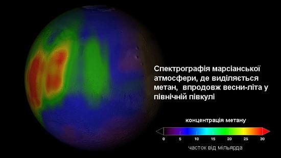 Мапа-спектрограма розповсюдження газу метану у атмосфері Марсу