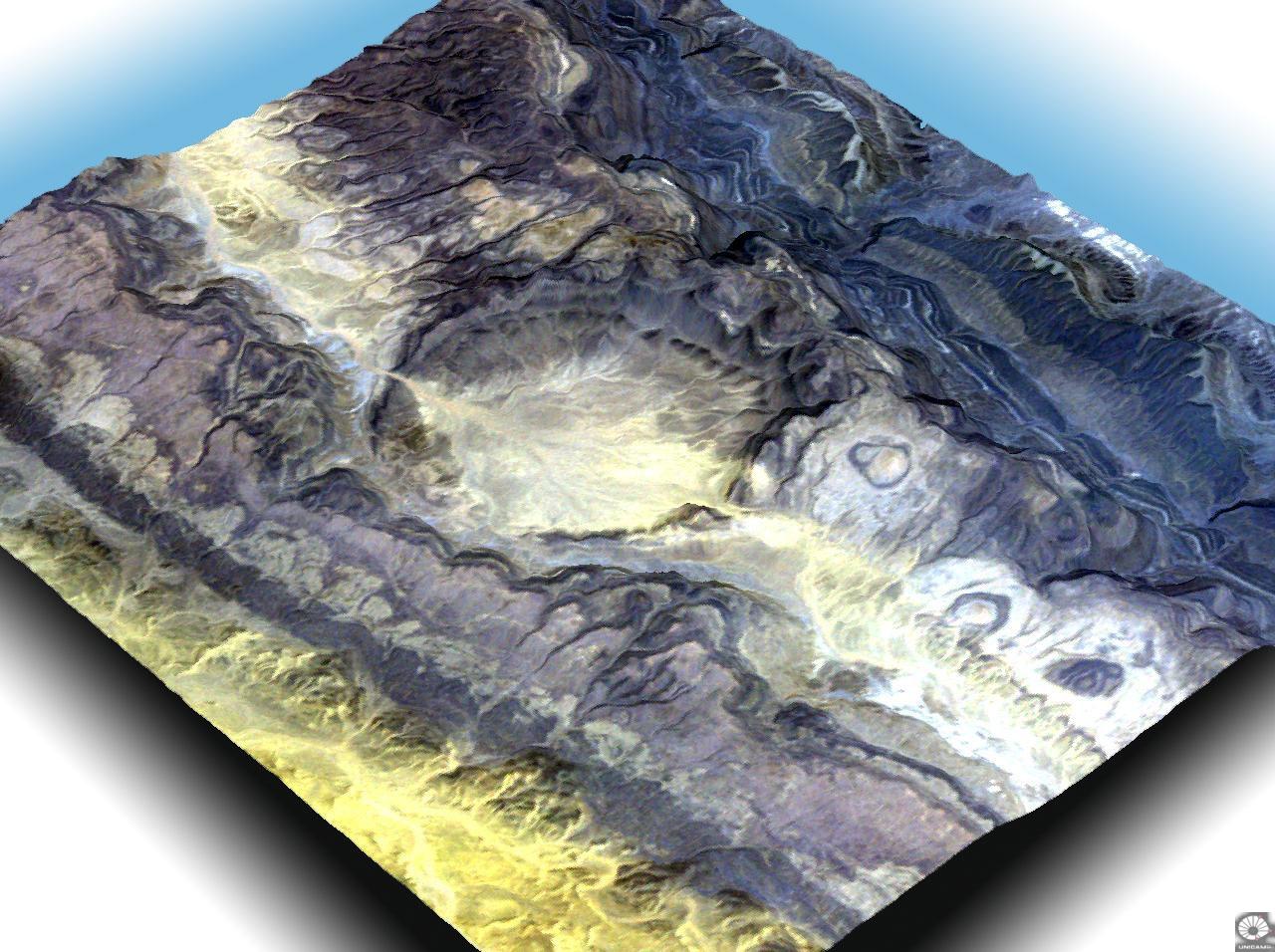 Кратер Оваркзиз на заході Алжиру утворився в результаті вибуху метеорита 65 мілн. років тому