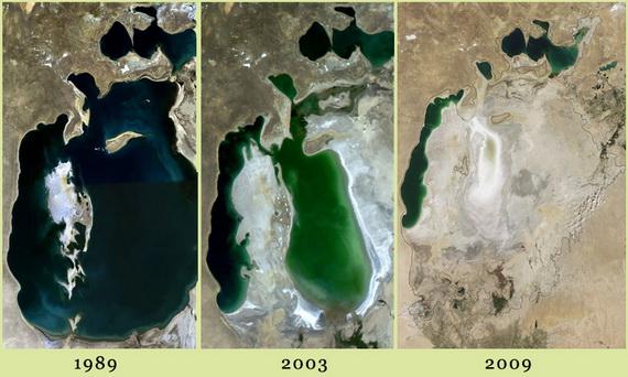 Море цілковито висохло лише за 20 років! Джерела ілюстрації: rhttp://www.u.wikipedia.com й http://www.earthobservatory.nasa.gov