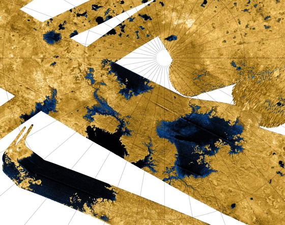 Радарна мапа північного полюсу Титана, зроблена космічним апаратом Кассіні