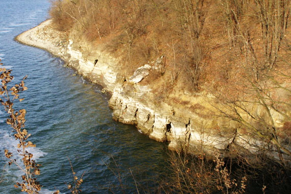 Береги Дністра круто обриваються у воду. Середня глибина водосховища 21 м, а максимальна - 54 м. Джерело ілюстрації: Денис Кучерявий