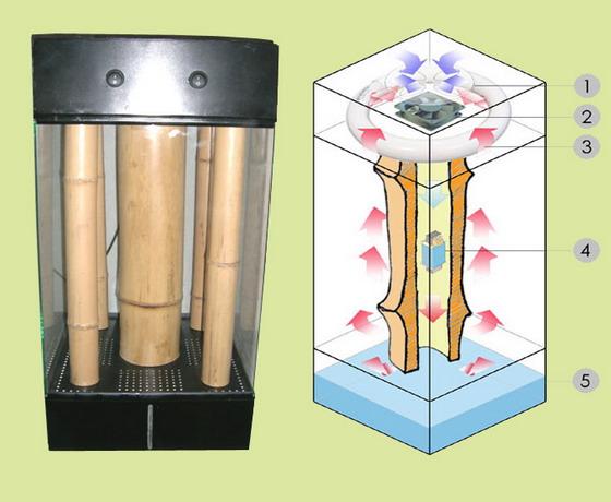 Конструкція тропікаріуму: 1. Вентиляційний отвар; 2. Вентилятор; 3. Люмінесцентна лампа; 4. Дросель; 5. Нижня камера з водою